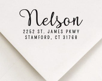 Calligraphy Addressing Stamp, Self Ink Address, New Home Stamp, Modern Type, Return Mail Stamp, Address Supplies, Personalized Stamp (110)