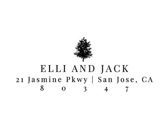Rustic Tree Address Stamp - Wood and Self Inking Options - Personalized Gift For New Couple (AS455)