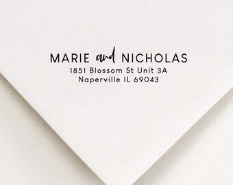 Personalized Mailing Stamp - For Couples Wedding or Anniversary - Self Inker or Wood Handle + Black Ink - Classic Address For Envelopes