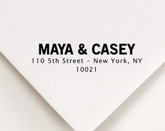 Two Names Address Stamp - Modern Bold Font with 3-lines - Self Inking or Wood Handle - Return Address Personalized