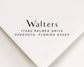 """Return Address - Rubber Stamp - Modern Design Up To 4 Lines Of Text Size Up to 2.5"""" in length (945)"""