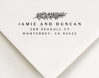 Branches Self Inking Stamp, Return Address, For Invitation Envelopes, Wooden Handle Mount, Rustic Stamper, Personalized Garden Lover Gift