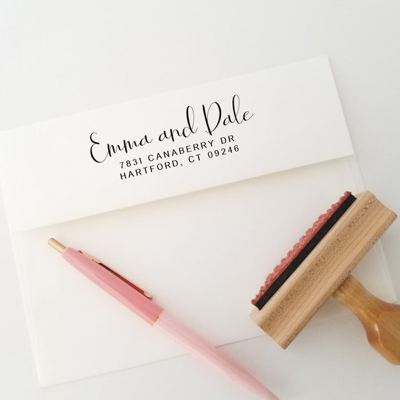 Wood Address Stamp | Self Inking Wedding Stamp  | Custom Return Stamp | Gift From Sister Of Bride (980)