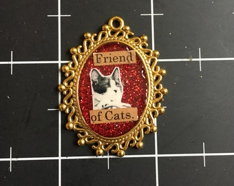 Friend of Cats, Ornate Frame Kitty Pendant, 50% of the proceeds go to the current selected animal charity