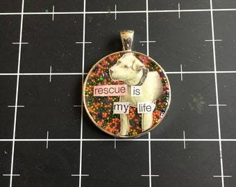 Rescue is My Life, Adorable Rainbow Dog Pendant, 50% of the proceeds go to the current selected animal charity