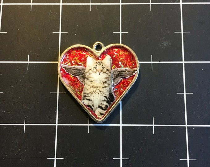 Winged Tabby Cat Heart Pendant FaerieCats and Flutterkittens Series 50/% goes to the current focus charity