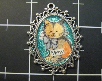 "100% Donation Item: Tortie Kitty ""Mew"" Pendant, All proceeds go to the current selected animal charity"