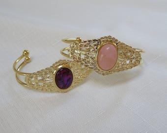 Purple Paua Shell and Rose Quartz Cuff Bracelets
