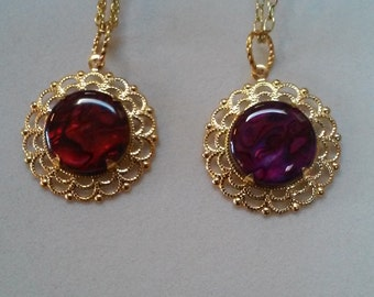 Red or Purple Paua Shell Necklace/Pendant