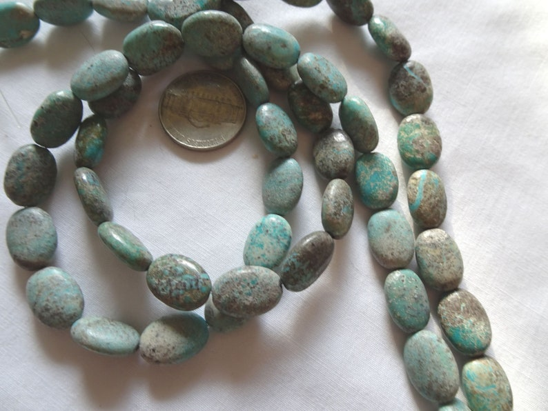 14 14 Strand Turquoise Puffy Oval Stone Beads 13-13.5mm Long A432