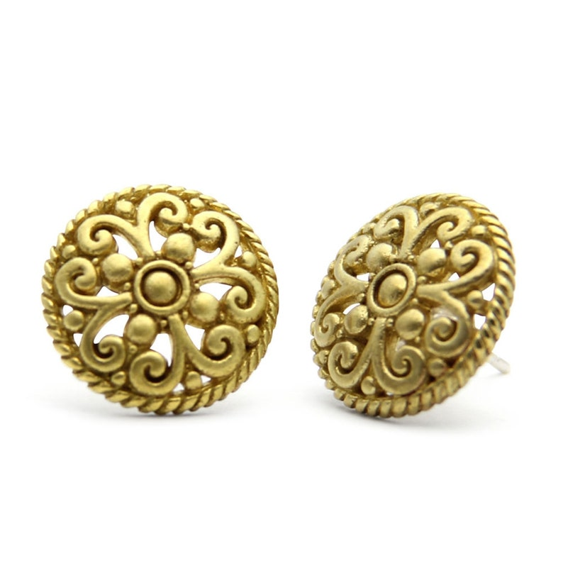 Gold Victorian Large Stud Earrings round detailed gold stud image 0