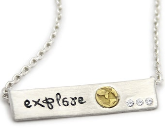 Explore- Sterling Silver Bar Necklace- Inspirational Jewelry by jenny present. Engraved necklace with motivational quote.
