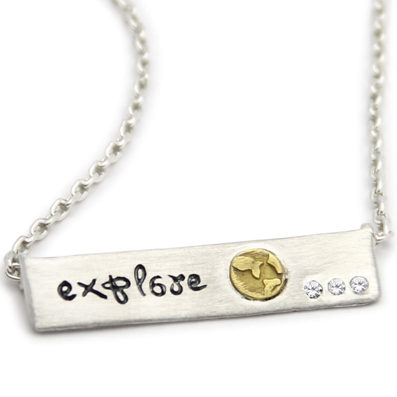 Explore Sterling Silver Bar Necklace Inspirational Jewelry image 0