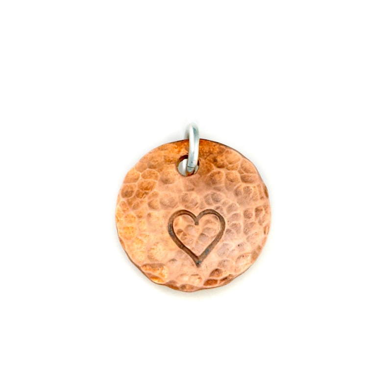 Hand Stamped Copper Charm. Personalized. Custom Pendant image 0