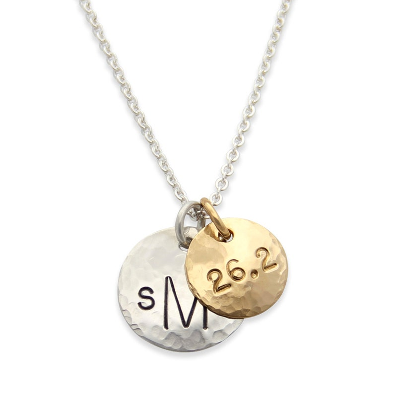 Gifts For Runners silver and gold personalized necklace with image 0
