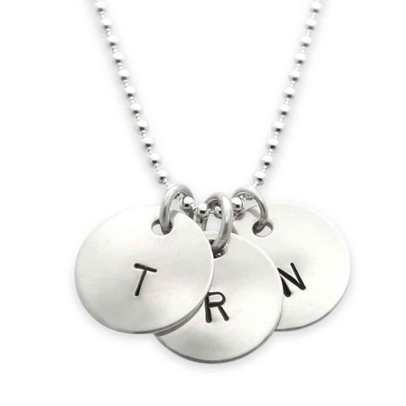 Mothers Necklace three sterling silver custom initial image 0