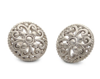 Silver Victorian Large Stud Earrings- round detailed silver stud earrings. Earrings by jenny present.