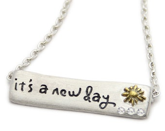 It's A New Day- Sterling Silver Bar Necklace- Inspirational Jewelry by jenny present. Engraved necklace with motivational quote.