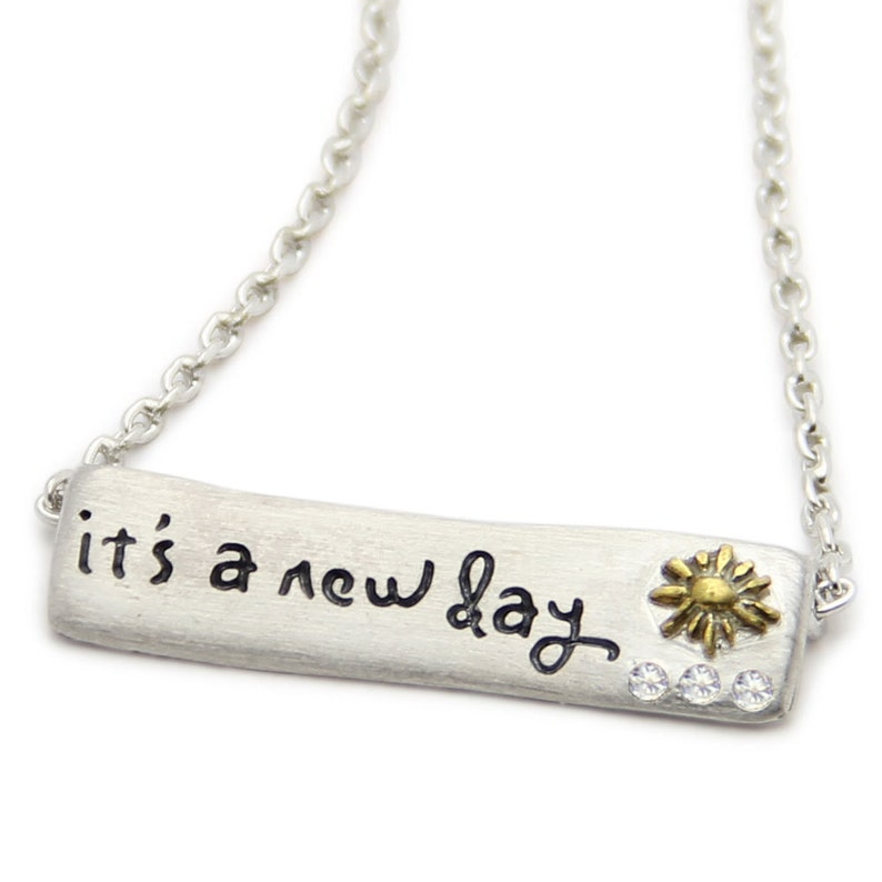 It's A New Day Sterling Silver Bar Necklace image 0