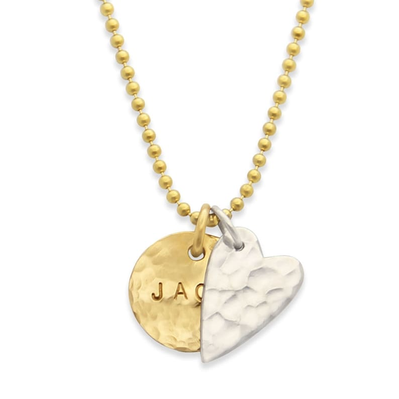 Mothers Necklace hammered gold name pendant and silver heart. image 0