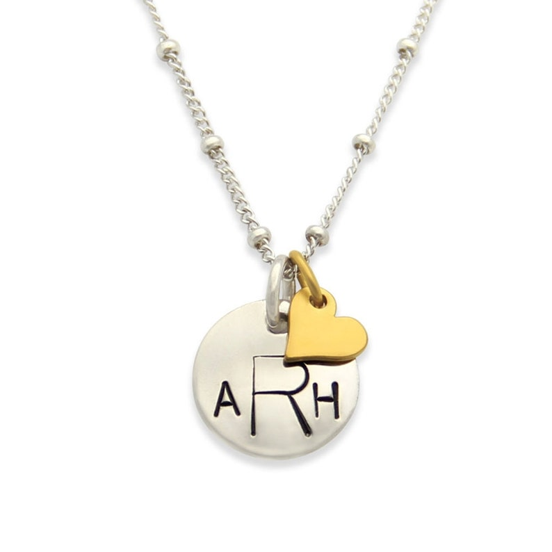 Petite Monogram Necklace Hand Stamped Jewelry My Name image 0