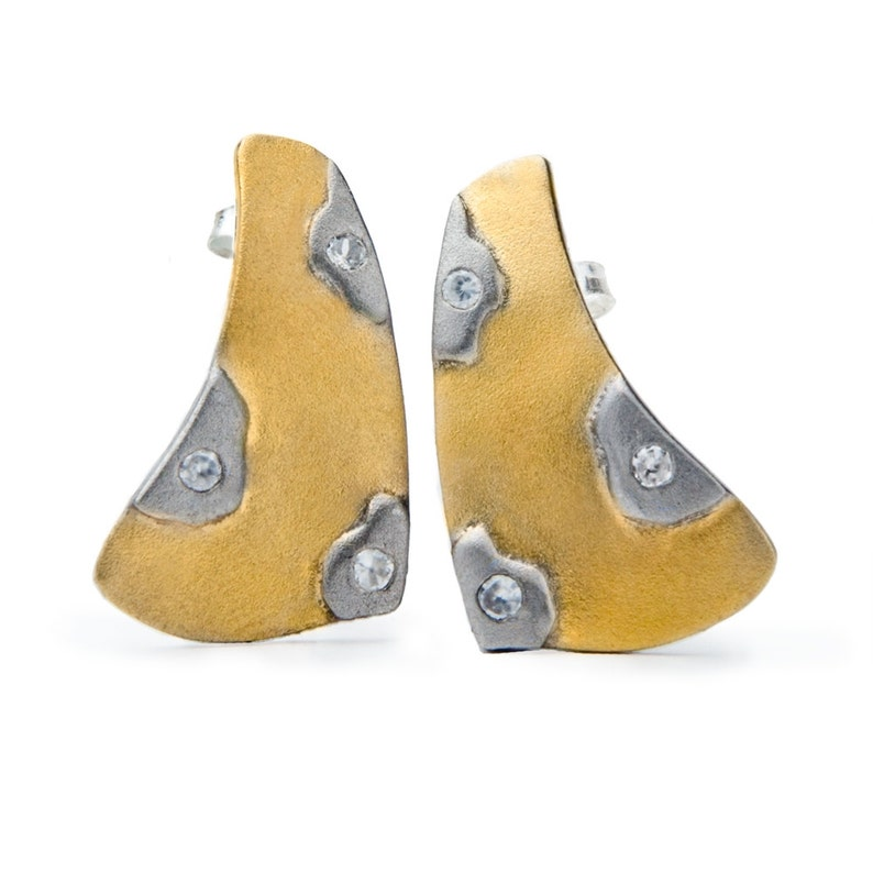 Geometric Gold Earrings Stylized triangle earrings with image 0
