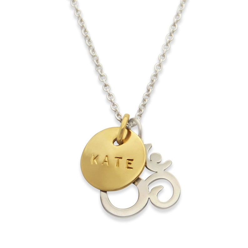 Om Charm Necklace Personalized Name Necklace Yoga Jewelry image 0