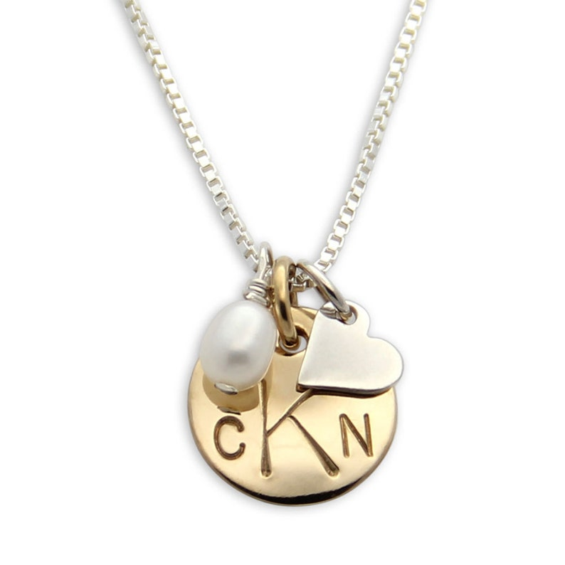Gold Hand Stamped Necklace personalized monogram necklace. image 0
