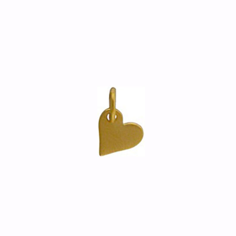 Gold Tiny Heart Charm 24kt gold plated image 0