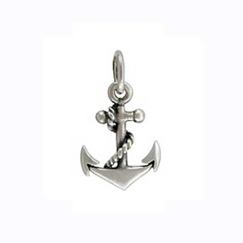 12 pieces Sterling Silver Anchor Charm  12 Pack Bulk image 0