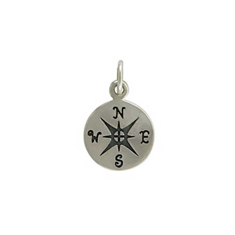 10 PACK Silver Compass Charm Silver Findings Nautical image 0