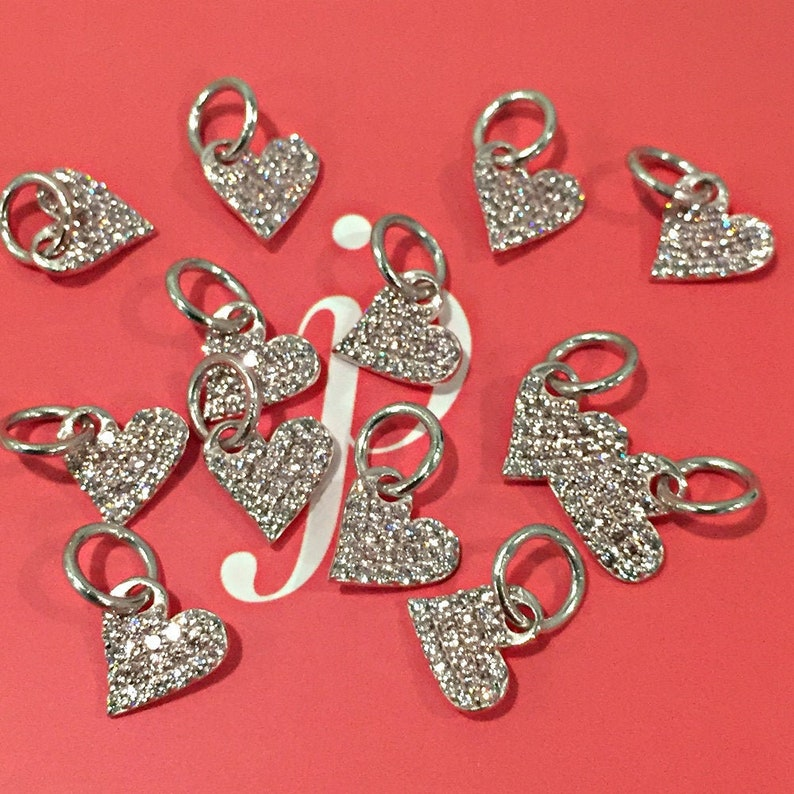 Silver Pavé Heart Charm image 0