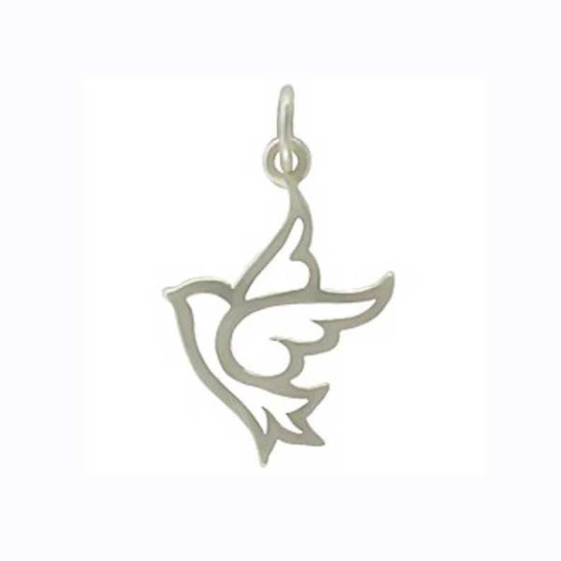 Silver Dove Charm Sterling Silver Peace Dove Pendant image 0