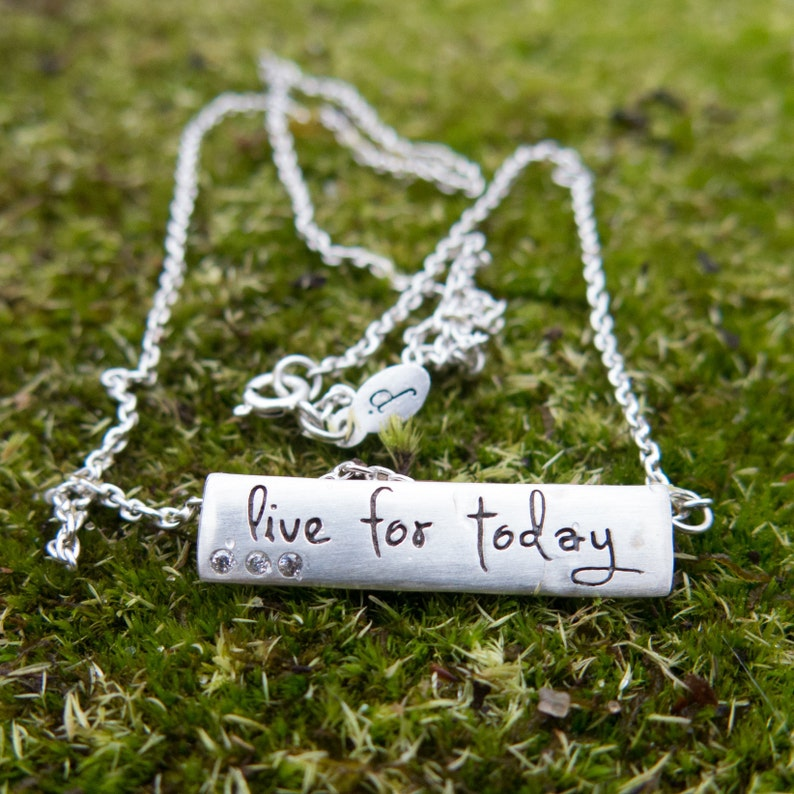 Silver Bar Necklace. Engraved necklace with motivational image 0