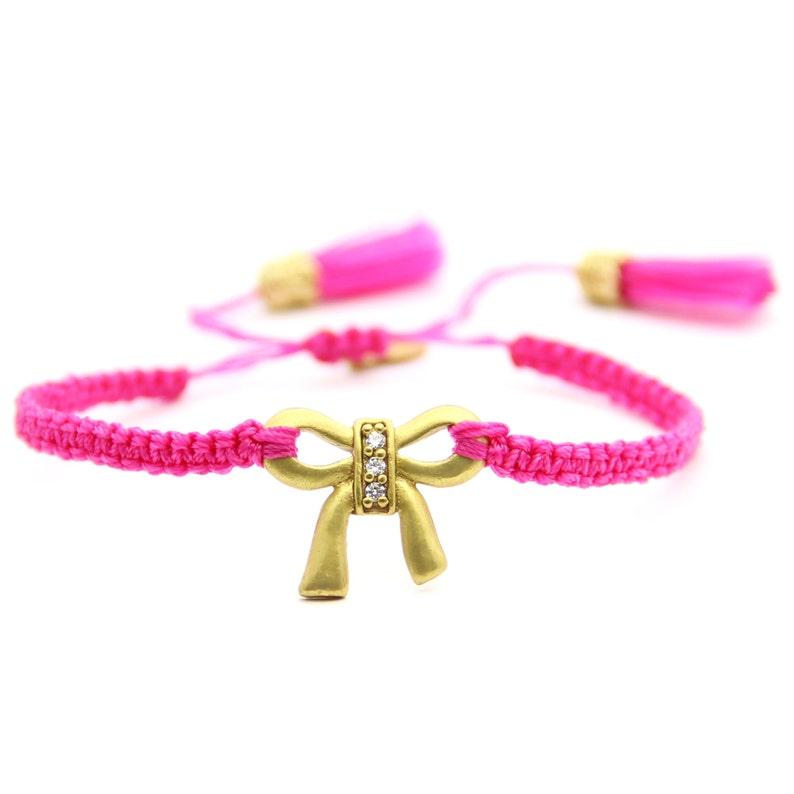 PACK of 3 WHOLESALE.  Bow Bracelet.  Pink macrame bracelet. image 0