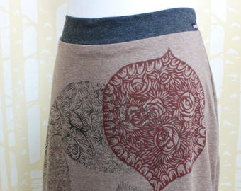 Reversible Skirt, choose your size, in hand printed cocoa brown jersey and cinder black jersey, recycled from plastic bottles