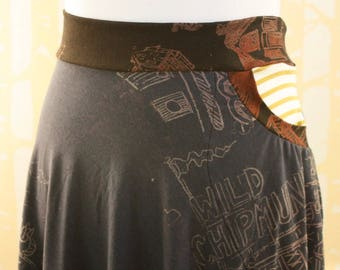 Horseshoe Skirt with Pocket, choose your size, in hand printed navy, black, and striped bamboo jersey
