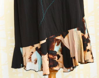 NEW Patchwork Mermaid Skirt, size MEDIUM, in black, blue, and peach shibori dyed rayon, one of a kind