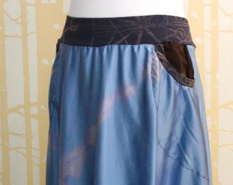 Pocketed Skirt, size LARGE in hand dyed soft blue silk and hand printed navy bamboo, ONE of a KIND
