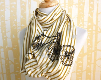 Infinity Scarf hand printed with bicycles and dragonflies on honey striped organic cotton, American grown and sewn