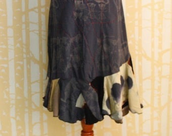 NEW Print and Patchwork Mermaid Skirt, size LARGE, in gunmetal, black and taupe shibori dyed rayon