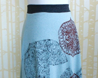 Reversible Skirt, choose your size, in hand printed ice blue jersey  and cinder black jersey, recycled from plastic bottles