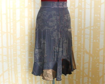 NEW Print and Patchwork Mermaid Skirt, choose your size in gunmetal, black and taupe shibori dyed rayon