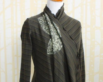 Cicada Cardigan, choose your size, in floral hand printed olive stripe organic cotton jersey, accented with cocoa brown cuffs