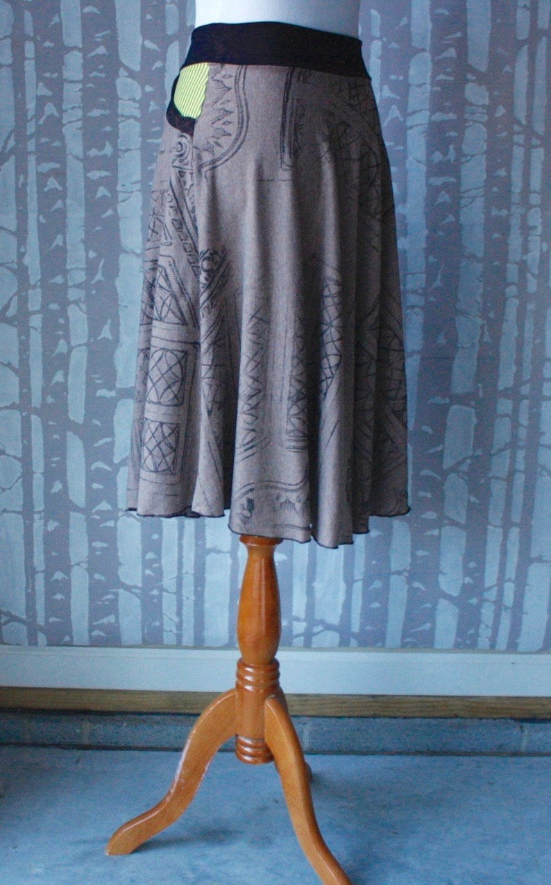 in cocoa brown and citrus striped organic cotton and recycled jersey Horseshoe Skirt with pocket,choose your size