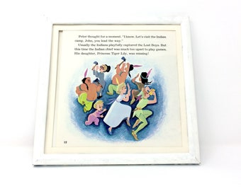 7x7 1970's Vintage Square Peter Pan & Wendy playing Camp Games Disney Classic Print, James M. Barrie