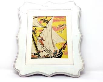 5x8 Vintage Peter Pan Captain Hooks PiRaTe SHiP Classic Neverland Print, James M. Barrie, Beatrice Derwinski