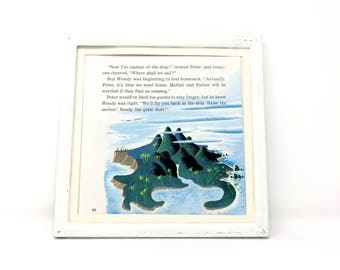7x7 Vintage 1970's Square Peter Pan Never Neverland Book Plate Disney Classic Neverland Print, James M. Barrie