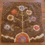 FLOWER POT TREE Primitive Hooked Rug