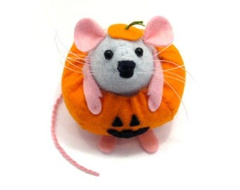 Pumpkin Mouse - collectable art rat - artists mice - felt mouse - cute soft sculpture toy - stuffed plush doll - ornament gift for halloween